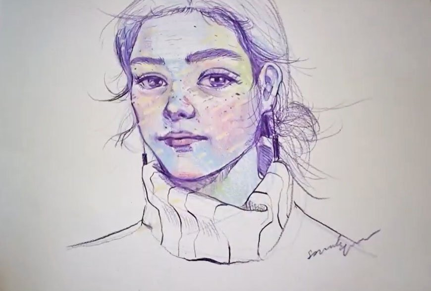 Drawing a Women face with colored pencils